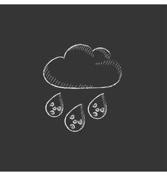 Radioactive cloud and rain drawn in chalk icon vector