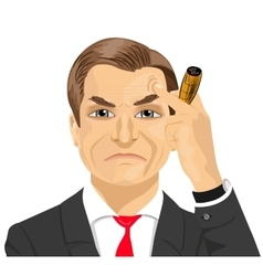 Haughty mature businessman smoking cigar vector