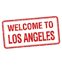 Welcome to los angeles red grunge square stamp vector