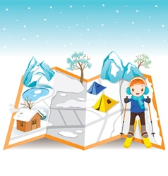 Boy skiing on map with winter landscape vector