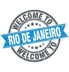 Welcome to rio de janeiro blue round vintage stamp vector