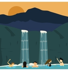 Peoples swim in waterfall boys and girls vector