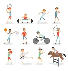 Cartoon sport people athletes of different sports vector