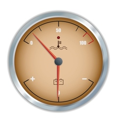 Retro motor temperature and voltage gauge icon vector