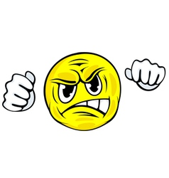 Angry face icon with hands in cartoon style vector image