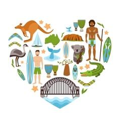 Australia Heart Shape vector image vector image
