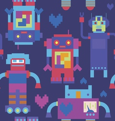 Blue seamless print with robots vector