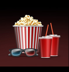 bucket of popcorn vector image vector image