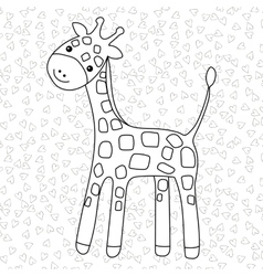 Coloring page Little cute giraffe stands and vector image