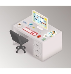 Creative office isometric workspace vector image