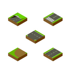 Isometric road set of turning footpassenger vector