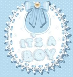 Its a boy baby shower on bib vector