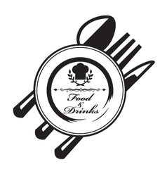 knife fork spoon and plate vector image vector image