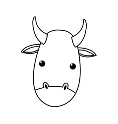 Outlined cow manger animal nativity vector