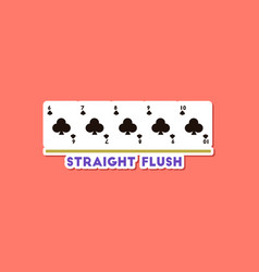 Paper sticker on stylish background poker straight vector