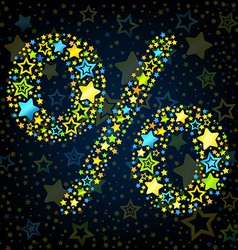 Percent sign cartoon star colored vector