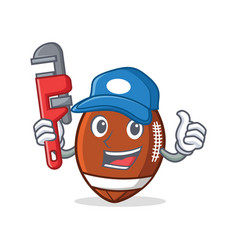 Plumber american football character cartoon vector