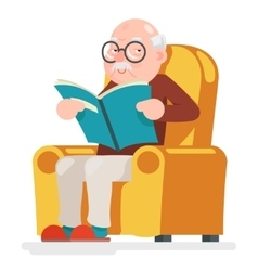 Reading old man character sit adult icon cartoon vector