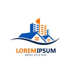 realty modern building logo vector image