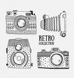 Retro photo cameras set Vintage cameras with vector image