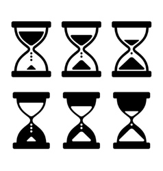 Sand Glass Clock Icons Set vector image vector image