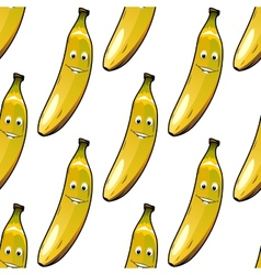 Seamless pattern of happy ripe yellow bananas vector