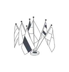 Set of table flags for international meeting vector