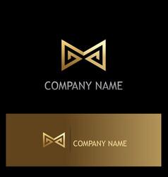 Sharp line letter m gold logo vector