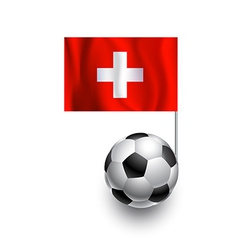 Soccer balls or footballs with flag of switzerland vector