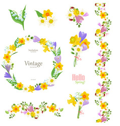 spring floral collection seamless border and cute vector image