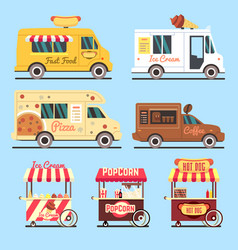 Street fast food delivery trucks flat set vector