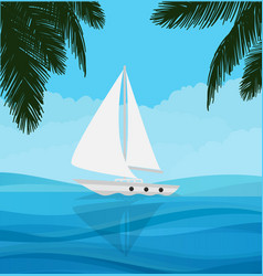 white sailboat sailing in blue clear water nature vector image
