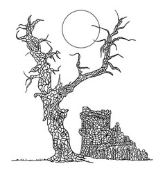 zentangle paintin tree and castle vector image vector image