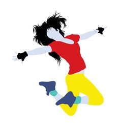 Female hip hop activity silhouette vector