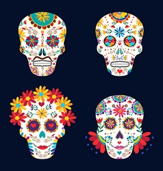 Day of the dead skulls for mexican celebration vector