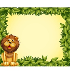 A lion and a leafy frame template vector