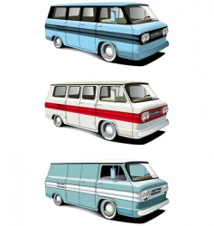 Retro van set vector