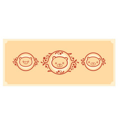 Woodland animals icon set three teddy bears vector