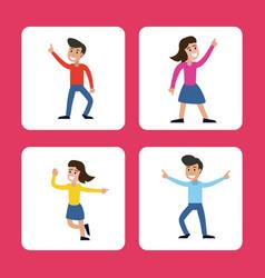 cartoon man and woman dancing happy vector image