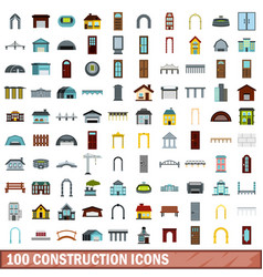 100 construction icons set flat style vector image