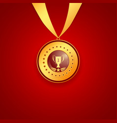 Medal first place on a red background vector