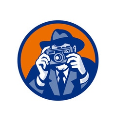 Photographer with fedora hat aiming retro slr vector