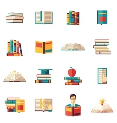 Books flat icon set vector