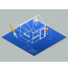 Architectural design blueprint drawing 3d vector