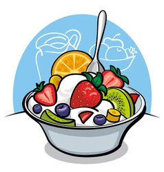 Fruit salad with yogurt and strawberry vector