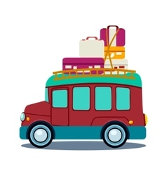 Bus side view with heap of luggage vector