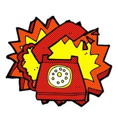 Comic cartoon ringing telephone vector