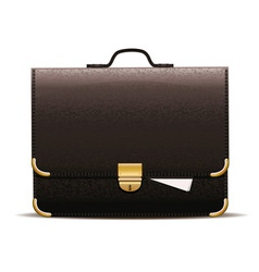 Black leather briefcase vector