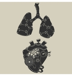 Steampunk heart and lungs vector