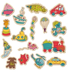Baby toys stickers vector